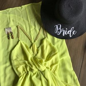 NEW Yellow Faux Wrap Dress, Hi Low